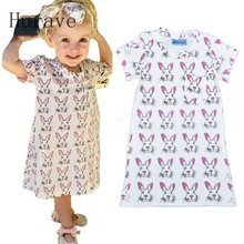Hurave 2017 fashion girls spring dress rabbit kids cartoon clothes children clothing pattern summer vestidos for girl