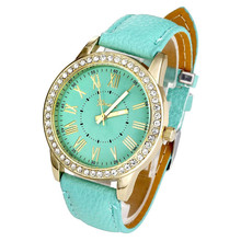 Brand Watch Geneva Women PU Leather Roman Rhinestone Quartz Wrist Watch Dress Watch Montre femme Clock Female Relojes mujer