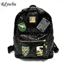 Rdywbu Luxury Woman's Designer Glitter Backpack Badge Appliques Bling Backpacks Girl's Shinning Sequins School Patch Bag B247
