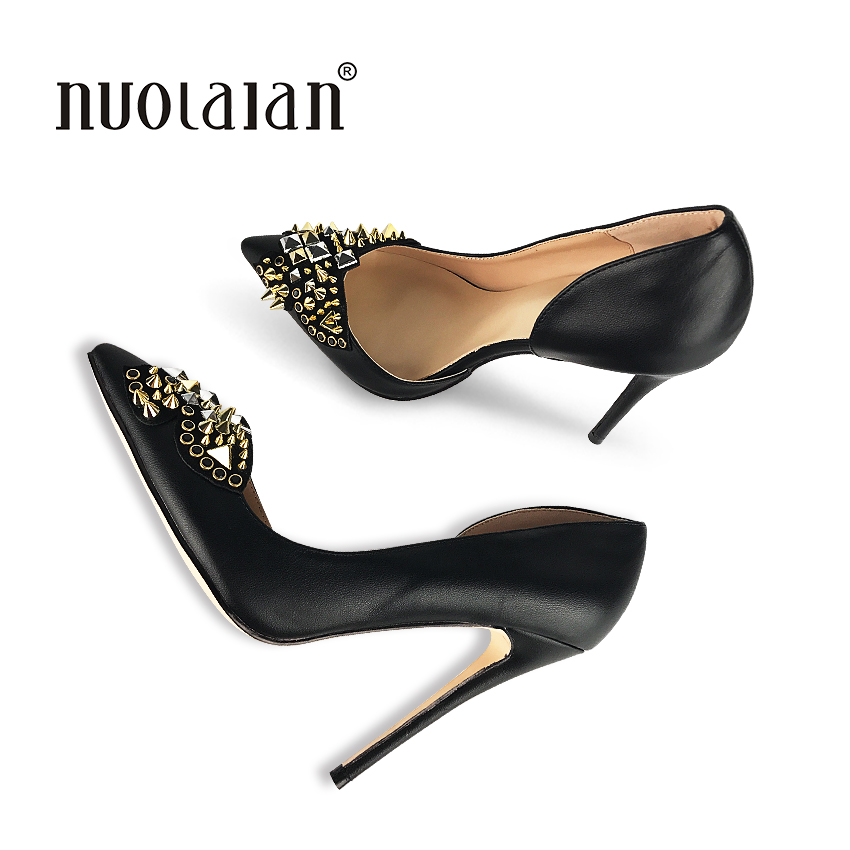 2018 Brand Fashion Women Shoes Sexy Stilettos Wedding Shoes 12cm River High Heels Party Pointed Toe Women Pumps<br>