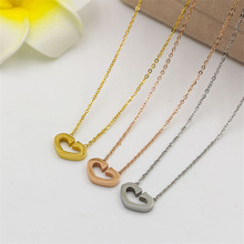 Simple Design Jewellery Open Heart Necklaces IP Vacuum Plating Titanium Stainless Steel Love Necklaces & Pendants Chokers 2016