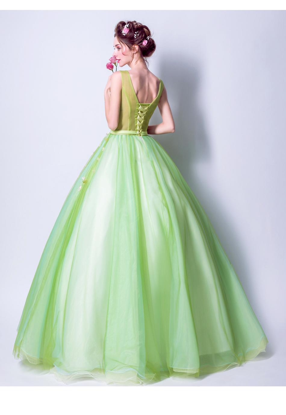 Angel Wedding Dress Marriage Bride Bridal Gown Vestido De Noiva 2017Soft powder, Qingjian Lvxian beauty, petals, green 9718 20