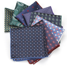 KR1371-1388 Polka Dot Small Flower Men's Polyester Silk Hanky Handkerchief Pocket Square Prom Wedding Party Chest Towel Hankies