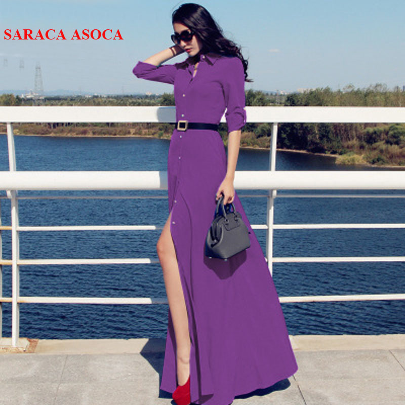 New Style Slim Floor Length Button Long Dress Women Spring Autumn Long Sleeve Fashion Brief Black