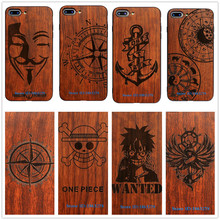 26Style Compass Pirate Anchor Original Bamboo Wood Phone Case For Iphone 7 7Plus 5 5S SE  6 6S Plus Vendetta Cartoon Cover Skull