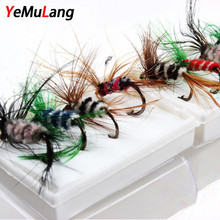 YeMuLang 96pcs Fly Fishing Lure Box Set Wet Dry Hard Lure Small moth Insect Fly Tying Material Bait Flies For Fishing Tack