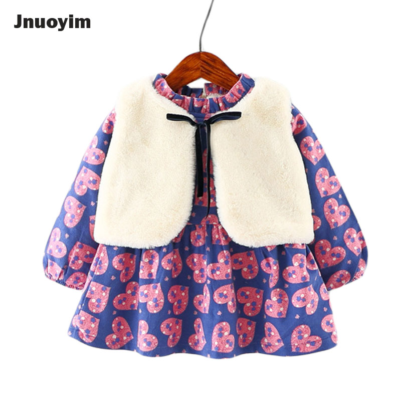 Children Clothing Set 2017 Autumn Winter Love Heart Print Dress &amp; Vest 2pcs Set Thicken Princess Baby Girls Dresses Kids Clothes<br>