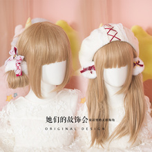 Princess Gothic lolita barrettes Hand Lolita accessories lace strawberry soft sister rabbit hair ball Hair Bow Earrings GSH124(China)