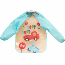 New Cute Cartoon Baby Toddler Waterproof Bibs Long Sleeve Children Kids Feeding Towel Art Smock Bib Apron baberos bavoir