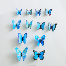 2set(24pcs.) Hot Sale Blue A PVC Butterfly With Safty Pin Size Assorted Home Wedding Decoration Curtain Cloth Hat