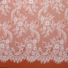 3 meter / lot   Eyelash Lace Fabric 150cm White Black DIY Exquisite Lace Embroidery Clothes Wedding Dress Accessories