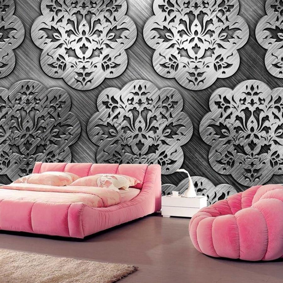 Texture Tracery metal wallpapers papel de parede, bar coffee shop living room sofa TV background bedroom kitchen custom murals<br>