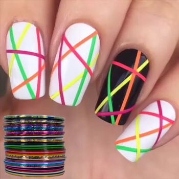 YZWLE 40 Popular 0.8mm Nail Striping Tape Line For Nails Decorations Diy Nail Art Self-Adhesive Decal Tools