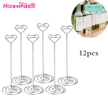 Hot 12pcs Heart Pattern Table Number Holders Name Card Holders Photo Stand Note Memo Clip(China)