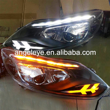 2012-2014 Year For FORD For Focus 3 LED Strip Head Light with Bi Xenon Projector Lens JC Double Color
