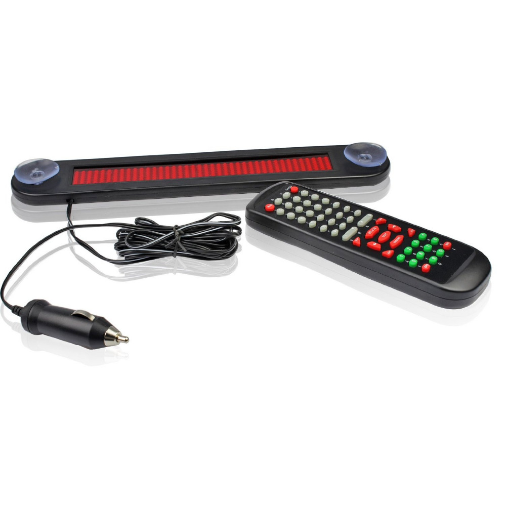 12V-30cm-IR-Remote-Car-Programmable-Scrolling-Led-Advertising-Message-display-board-7X40-Pixel-Red-Car