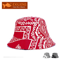 [EXILIENS] 2017 Fashion Brand Bucket Hats Cotton Graffiti Casual Fisherman Caps Hip-hop Hats For Men Women Lovely Black Red Hat
