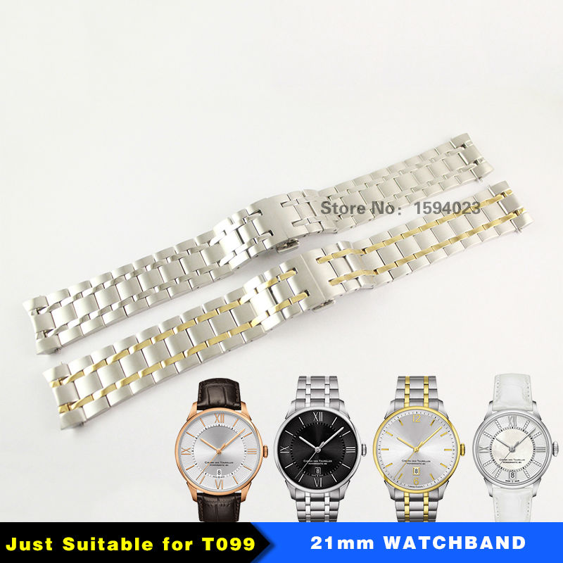 21mm T099 Watchband Strap Durable Butterfly double buckle Solid 316L  Stainless   Silver/Gold Steel  Straps<br>