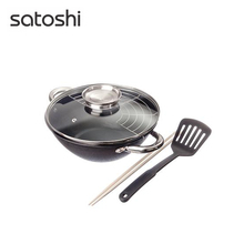 CAST IRON FRYING PAN SATOSHI, 4.4L, nonstick, stainless steel handles, grille, glass cover, nylon paddle, a bamboo stick 808-031(China)