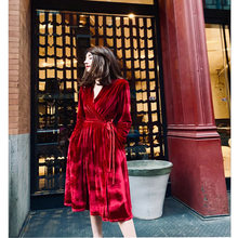 christmas dress women long sleeve Winter Fashion special vintage v-neck red velvet  dress sexy boho dresses woman party night c88b4475683e