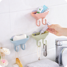 The bathroom powerful suction double hooks plastic draining storage box(China)