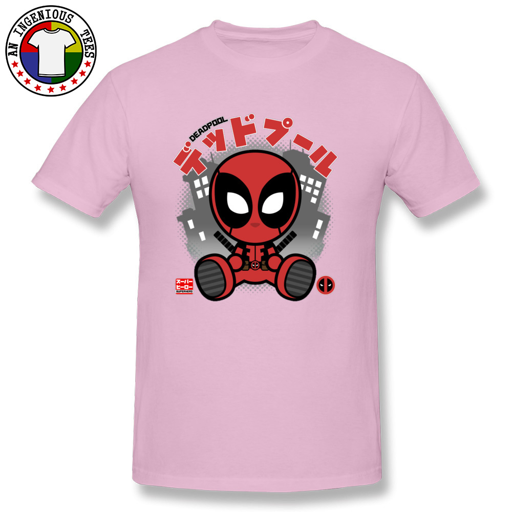 Deadpool Chibi 1226 T-Shirt Graphic Short Sleeve Casual Pure Cotton Crewneck Mens Tops T Shirt Customized Tshirts Summer Deadpool Chibi 1226 pink