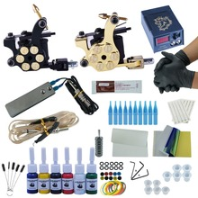 Starter Beginner Complete Tattoo Kit Professional Tattoo Machine Kit Rotary Machine Guns 6 Color Inks Power Supply Grips Set