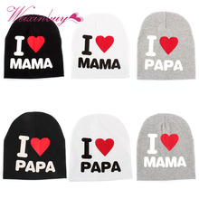 New Arrived Lovely Warm I LOVE MAMA/PAPA Knitted Cotton Soft Cute Beanie Cap for Baby Toddler Boy GirlsNew Arrived Lovely Warm I