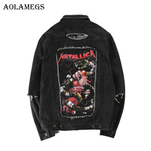 Aolamegs Men Denim Jacket Men's Metallica Hip Hop Cowboy Jackets Fashion Male Jacket Turn-down Collar Cotton Outwear Ripped 2017(China)