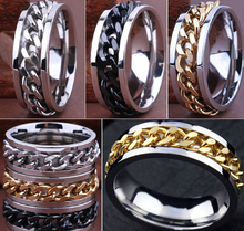 30pcs High Quality Comfort-fit Men's SPIN Chain Stainless steel Rings Wholesale Jewelry Job Lots