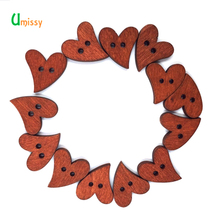 25pcs Wood Heart Buttons Handmade Sewing Scrapbook DIY Decor Craft Button for Yarn 20mm(China)
