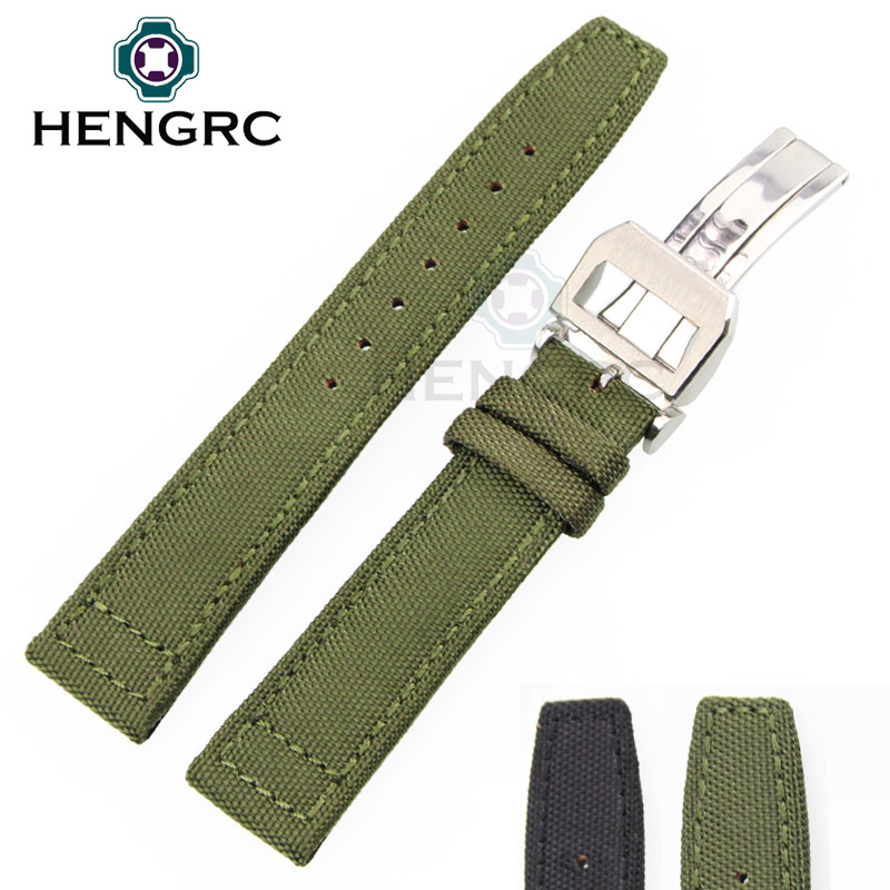 20mm 22mm Watchbands Nylon And Leather Strap Black Green Watch Band Wrist Bracelet Silver Steel Metal Deployment Clasp Buckle<br><br>Aliexpress