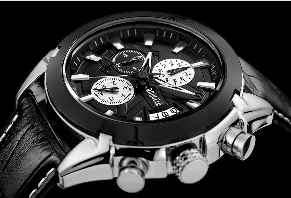 Baogela Mens Chronograph Luminous Hands Date Indicator Fashion Causal Leather Strap Sport Quartz Wrist Watches 16