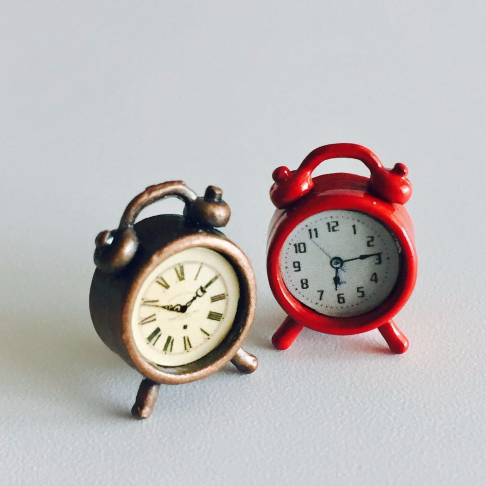 Dollhouse Miniature Vintage Silver Alarm Clock # 5