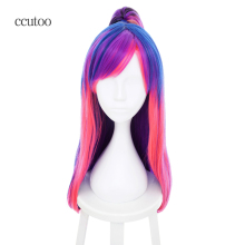 ccutoo 60cm Long Purple blue Pink Mix Long Straight Cosplay Full Wigs With Chip Ponytail Female's Colorful Party Costume Wigs