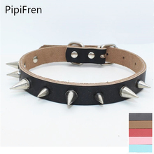 PipiFren Pure Cowhide Small Dogs Collars Pitbull Spiked Rivet For Cat Collar Necklace Supplies Pets Accessories Puppy Mascotas