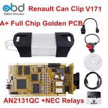 High Quality For Renault Can Clip Diagnostic Interface Latest Version V171 OBD2 Can Clip Full Chip Golden PCB AN2131QC NEC Relay