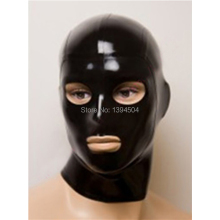 Buy hot New Sexy Lingerie black Women men Handmade Latex Hoods Eyes Mouth open Mask Customized Size  solid color Teddy Babydoll
