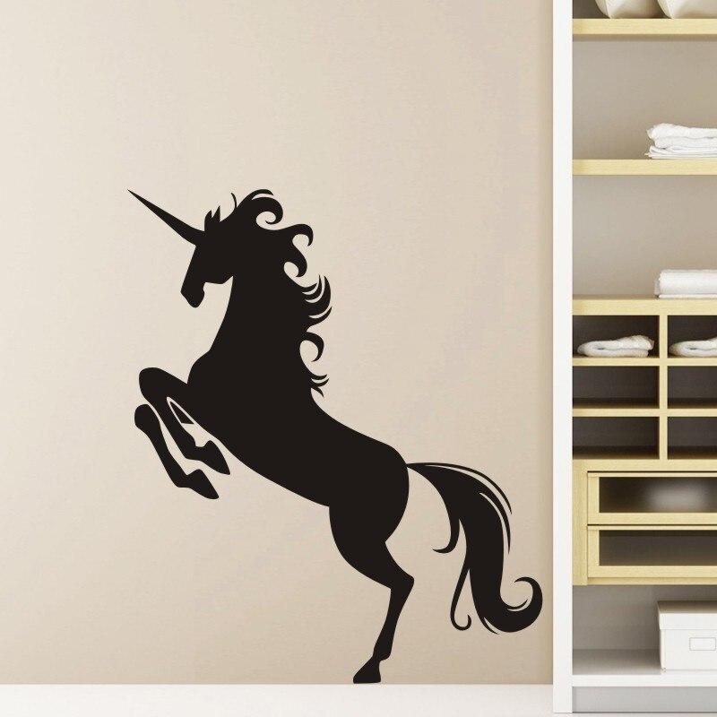 DCTAL Unicornio Wall Sticker Licorne Decal Unicornio Posters Vinyl Wall Art Decals Pegatina Decal Decor Mural Animal Sticker