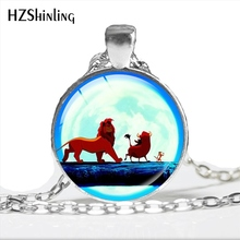 2017 New Fashion The Lion King Necklace Trendy Glass Dome Anime The Lion King Simba Pendant Jewelry HZ1(China)