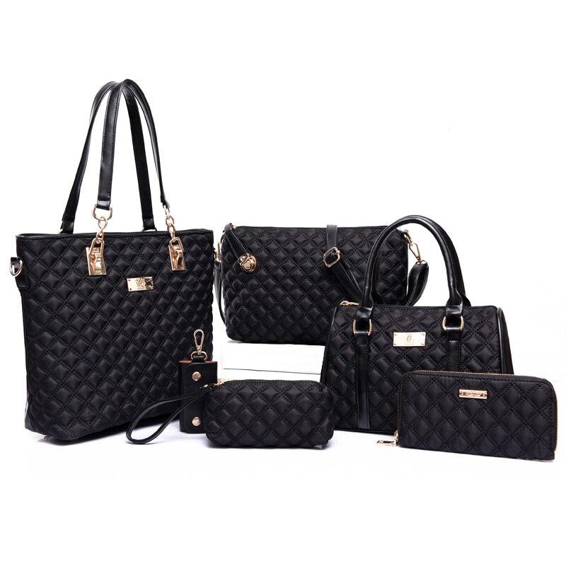 Women Bag Set Top-Handle Bags 6 Pieces Brand 2017 Women Messenger Bag Purses and Handbag PU Leather Composite Bag High Quality<br>