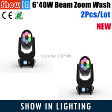 2017 DJ Disco Party Wedding Pub Stage Effect Projector Manufacturer 6*40W LED Beam Zoom Wash Moving Head Light Free Shipping