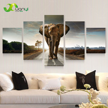5 Panel Large Modern Printed Elephant Oil Painting Picture Cuadros Decoracion Canvas Wall Art For Living Room Unframed PR930A(China)