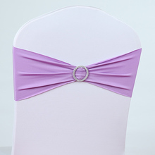 Freeshipping Back buckle round flower elastic bow chair back wedding chair ribbon cover bandage