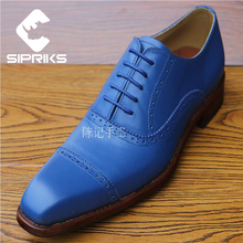 Sipriks Latest mens goodyear welted shoes luxury blue tuxedo shoes men oxfords dress shoes hipster two toe mens formal shoes