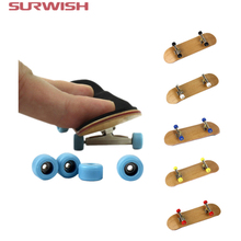 Surwish 2017 Hot Professional Maple Wood Finger Skateboard Alloy Stent Bearing Wheel Fingerboard Novelty Toy For Christmas Xmas(China)