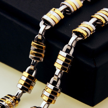 Fashion Hip hop Mens Punk Cool Lock Chain Link Necklace 316L Stainless Steel Male Chain Necklace Jewlery