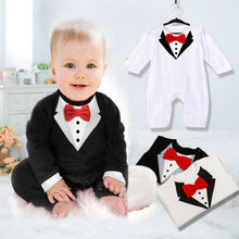 1Pcs Baby Boys 2016 Rompers Bowtie Gentleman Modelling Clothes 0 36Mths Kids Wear Infant Long Sleeve Jumpsuits Size(China)