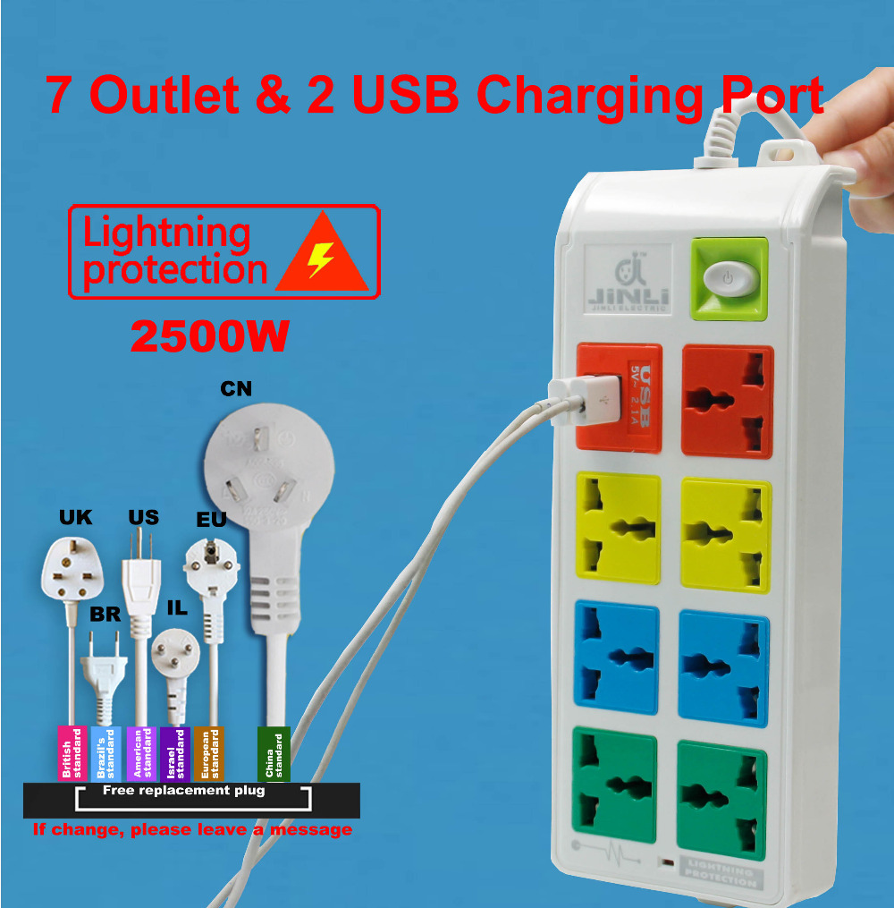 7 Outlet socket Universal Power Strip Socket and 2 USB Charger Ports with EU UK US type<br>