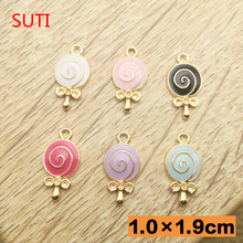 Buy SUTI 10pcs lovely candy lollipop enamel charms bracelet, alloy fashion jewelry fit diy accessories for $2.67 in AliExpress store